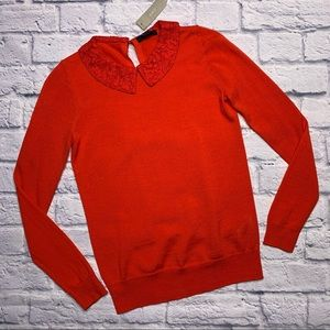 NEW J.Crew Tippi Sweater with Lace Collar